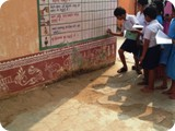 Under the guidance of WASH Teacher student depict progress of 10 WASH Indicator monitoring in school wall
